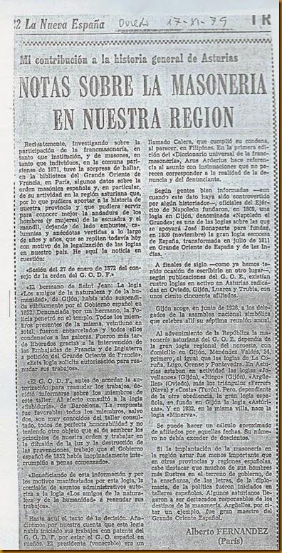 Articulo LNE Noticia masónica