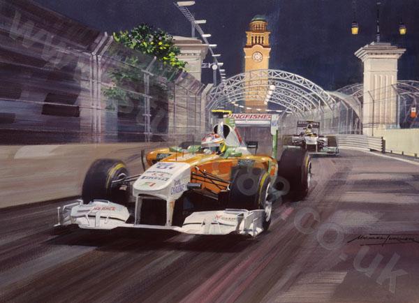 Пол ди Реста и Нико Росберг на Гран-при Сингапура 2011 - арт Michael Turner