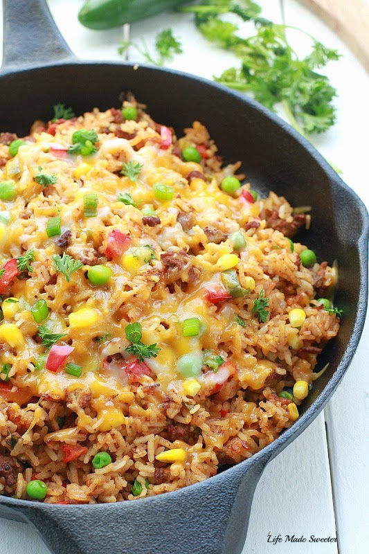 {One Pan} Mexican Rice Skillet is perfect for a busy weeknight taking less than 30 minutes to make made entirely in one pan..jpg