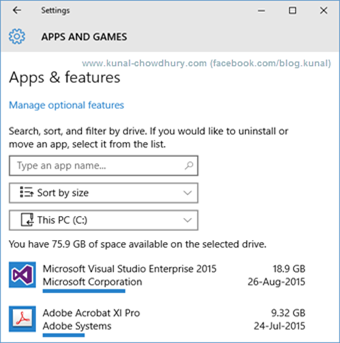 Windows 10 Storage Usage Detail 2 (www.kunal-chowdhury.com)
