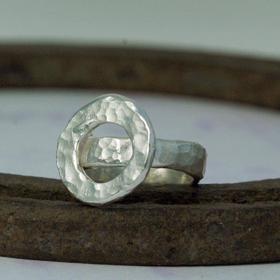 Silver Wedding Ring . Rustic .