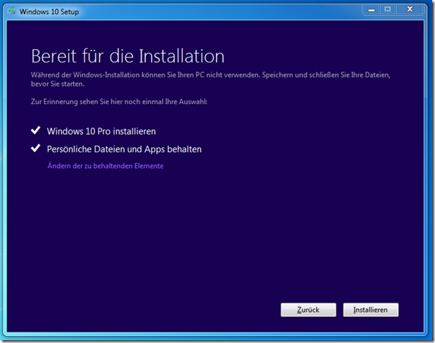 Windows 10 über Upgrade installieren