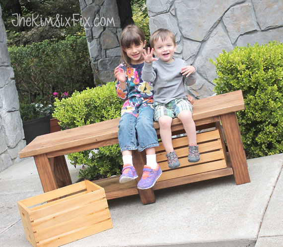 Exterior wooden storage bench