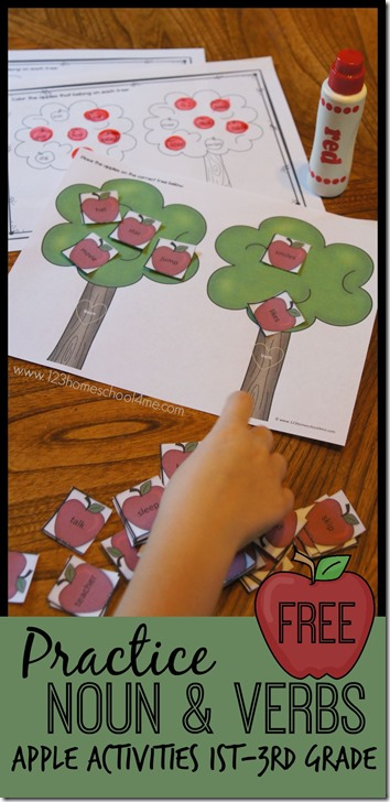 Nouns and Verbs - FREE apple theme practice for 1st grade, 2nd grade, and 3rd grade kids FUN! (homeschool, 2nd grade)
