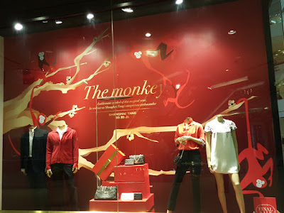 The window display at Shanghai Tang, Raffles City, Singapore, ahead of the year of the monkey on February 8, 2016.