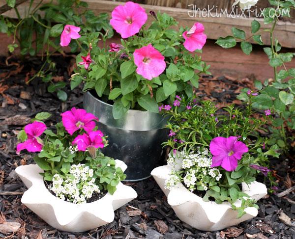 Concrete flower planters