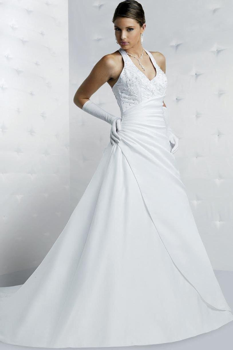 Wholesale White Natural Waist Floor-Length Halter Wedding Gowns