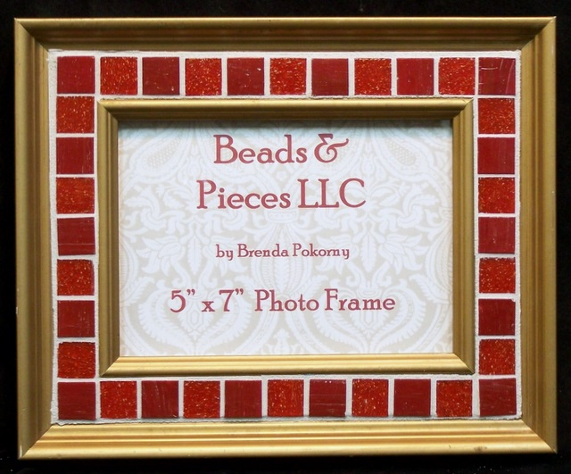 "Refined Red and Gold 5"" x 7"" Mosaic Photo Frame MOF1081"