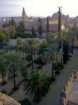 Alkazar w Kordobie o świcie, widok na stare miasto