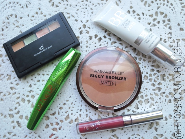 a picture of August Favorites (makeup) ; Marcelle BB Cream Matte, Annabelle Biggy Bronzer in Matte Gold, e.l.f. Corrective Concealer, ColourPop Ultra Matte Lip in Tulle, Rimmel Wonder'Lash Lift Me Up Mascara