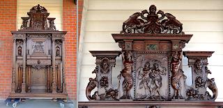 Изумительный редкий буфет с резными скульптурами. ок.1850 г. Центральная дверка и две дверки по бокам, один выдвижной ящик. 156/50/290 см. 18000 евро.
