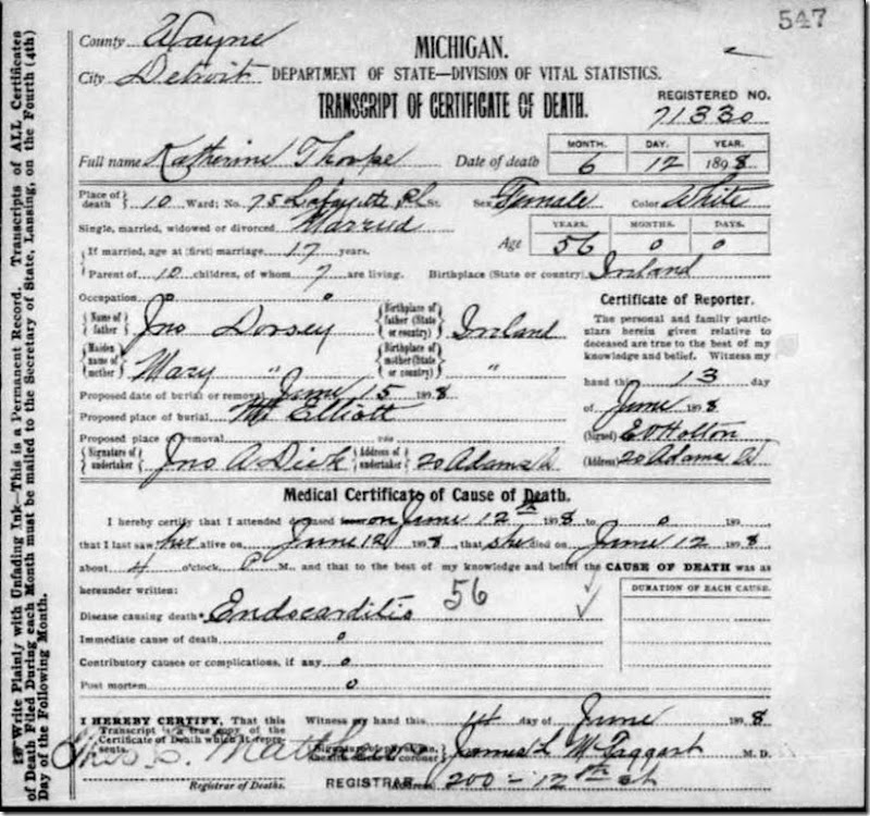 THORP_Catherine nee DORSEY_death cert_clear copy_1898_Detroit