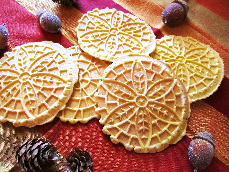 Pumpkin Pizzelle Cookies