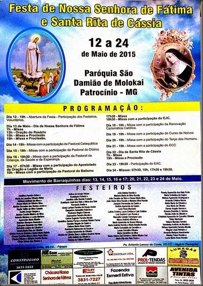 cartaz FESTA DE NOSSA SENHORA DE FÁTIMA E SANTA RITA DE CÁSSIA - paróquia são damião de molokai - Patrocínio - minas gerais