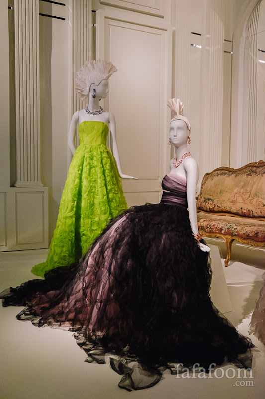 (Left to right) Oscar de la Renta, Evening dress, 2012. Evening dress, 2011.
