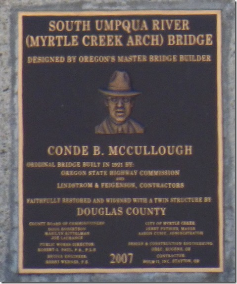 Myrtle Creek Arch Bridge Plaque for Conde McCullough