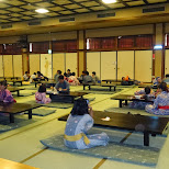 the traditional seating area at the Oedo Onsen Monogatari in Odaiba, Tokyo, Japan
