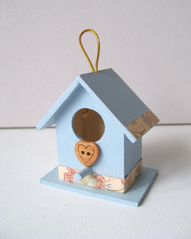 Mini wooden birdhouse ornament