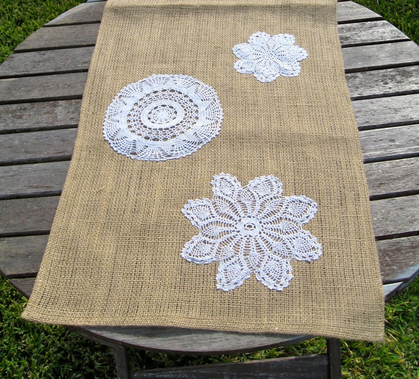 SALE-Burlap Table runner with Doilies-Ready to Ship. From JustKateEtc