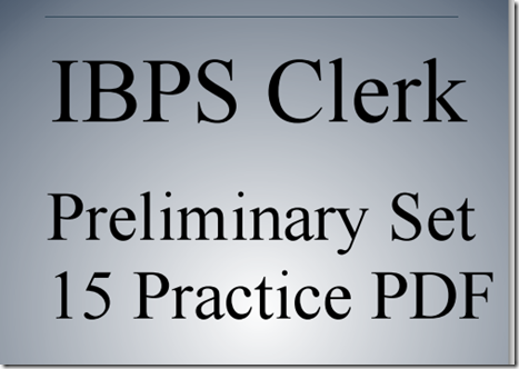 IBPS Clerk Preliminary Question paper PDF Set 15