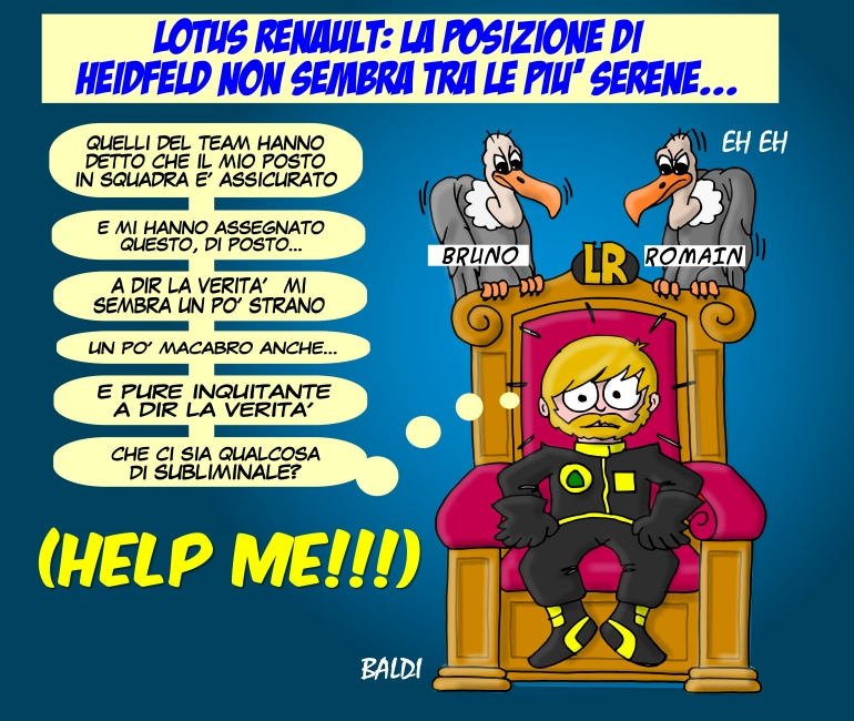 комикс Baldi о позиции Ника Хайдфельда в Lotus Renault посреди сезона 2011