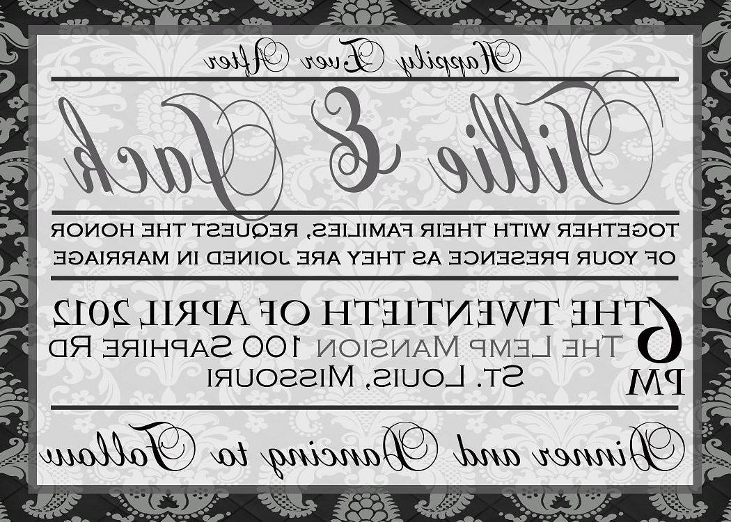 Black and Gray Damask Wedding Invitation Set - Digital Printable Files