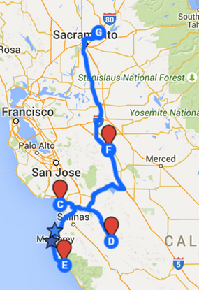 Map of next trip--Santa Cruz, Pinnacles National Park and Monterey