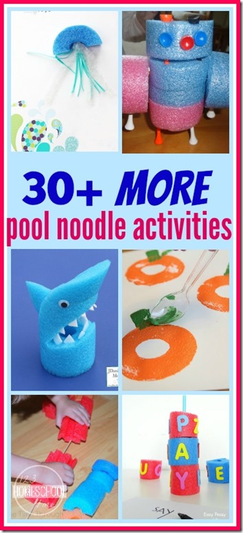 30 more fun pool noodle activities for kids - WOW! such creative ideas for all year round from crafts to indoor activities using pool noodles and more. (kids activities)