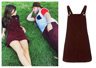 Emily Ratajkowski Emrata with Boyfriend Jeff Magid Magidnation in Topshop Burgundy Corduroy Pinafore Dress