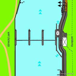 Při nízkém stavu vody se dále po proudu mohou vyskytovat mělčiny.