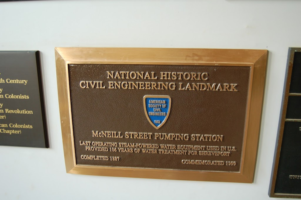 National Historic Civil Engineering LandmarkLast operating steam-powered water equipment used in U.S. Provided 106 years of water treatment for Shreveport.Completed 1887  Commemorated 1999.