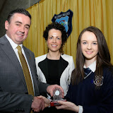 Guest Speaker Gerard Grant and Fiona Temple, Principal present Aoife Sweeney  with the Best Junior Cert Trophy  Award   at the Mulroy College Senior Prize Giving.    Photo:- Clive Wasson