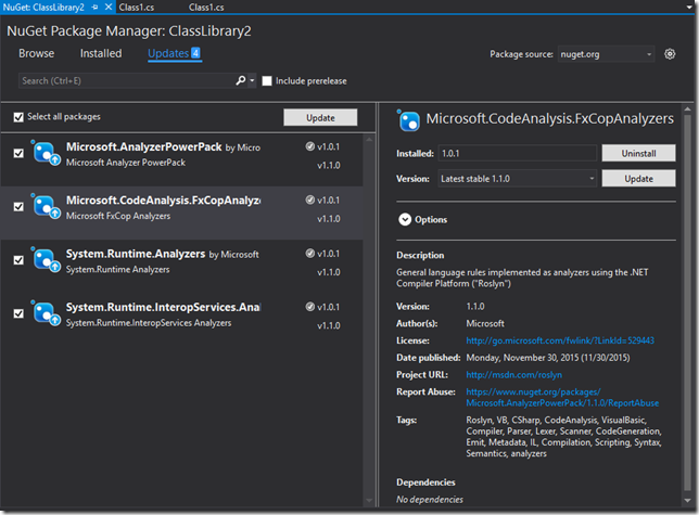 NuGet Package Manager, showing 4 packages with updates