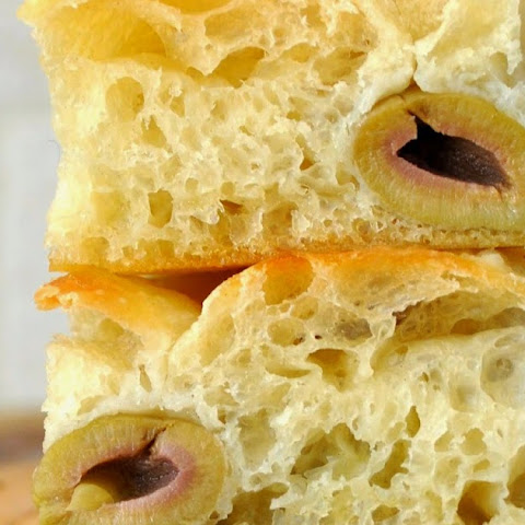 Freshly Baked Focaccia Bread with Green Olives