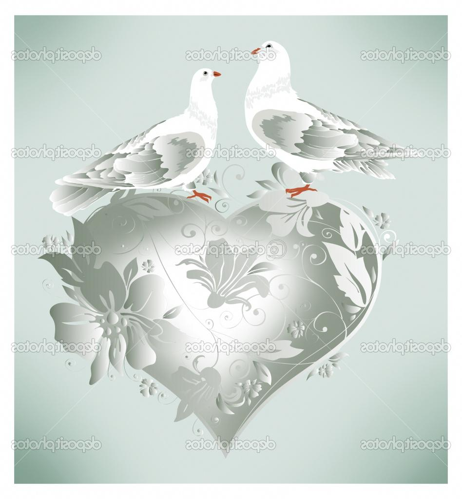 Stylish wedding white dove sit