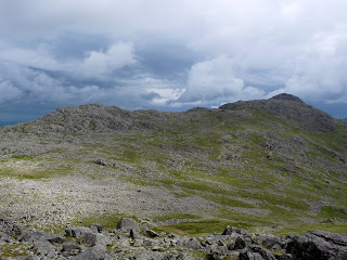 Looking back to Bowfell from ascent of Esk Pike