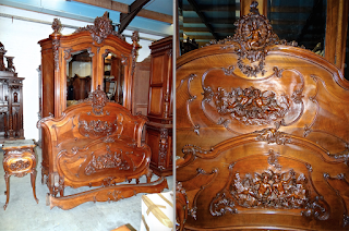Очень красивый резной гарнитур для спальни ок.1880 г. Шкаф, кровать шириной 145 см. одна тумбочка. 13000 евро.