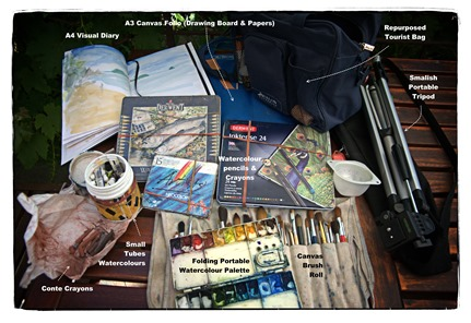 """The contents of the """"Fatter"""" Sketching Bag & Accompanments"""