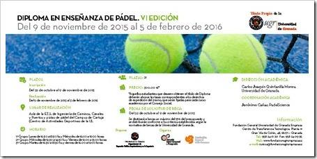 Periodo de inscripción ABIERTO VI Edición Diploma en Enseñanza de Pádel 2015-16 por la Universidad de Granada.