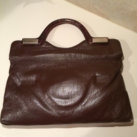 Retro vintage PU bag with lucite handles