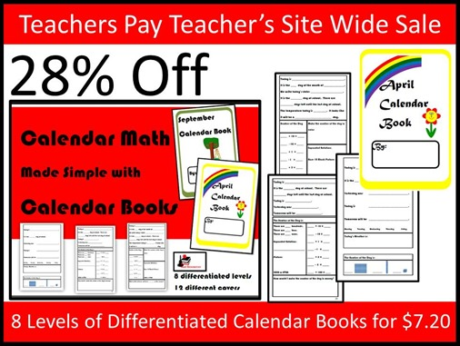Teachers Pay Teacher's Site Wide Sale - Differentiated Calendar Books