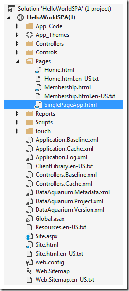 The structure of the application created with Code On Time displayed in Solution Explorer of Visual Studo.