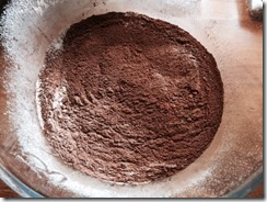 Chocolate brownie sifted chocolate and flour
