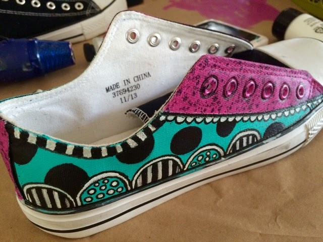 a sprinkle of imagination painted canvas shoes