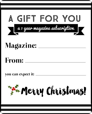 magazine subscription notice gift note letter