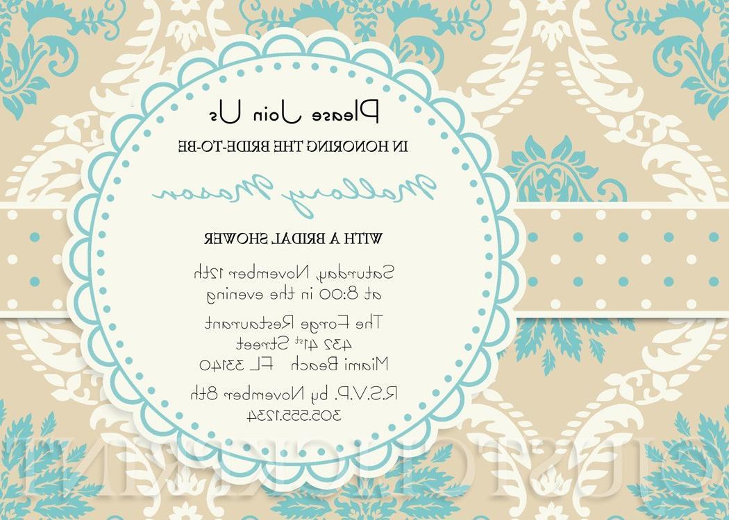 Turquoise Beige Cream Damask