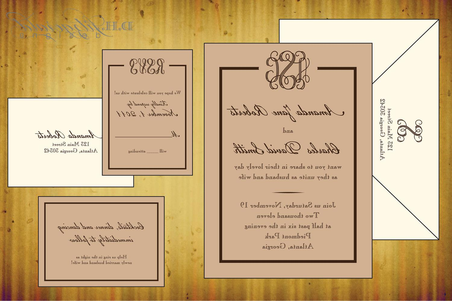 Vines Monogram Wedding Invitation - Starting Deposit