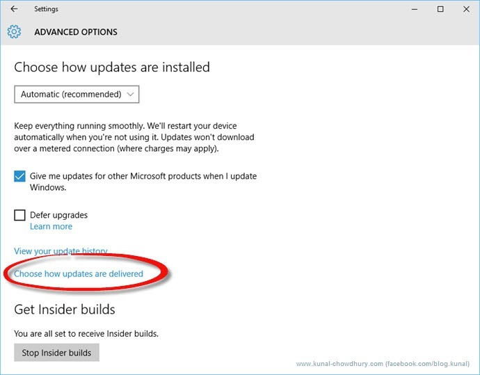 Choose how updates are installed in Windows 10 (www.kunal-chowdhury.com)