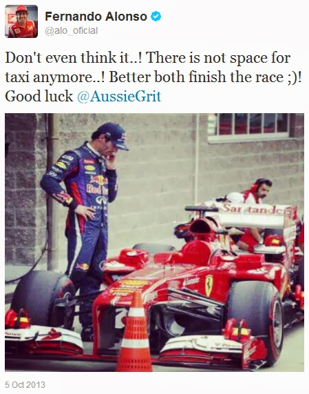 Фернандо Алонсо в твиттере о глазеющем на Ferrari Марке Уэббере после квалификации Гран-при Кореи 2013