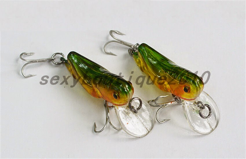 Outdoor fishing tackle lures hard plastic grasshopper for Fishing with crickets